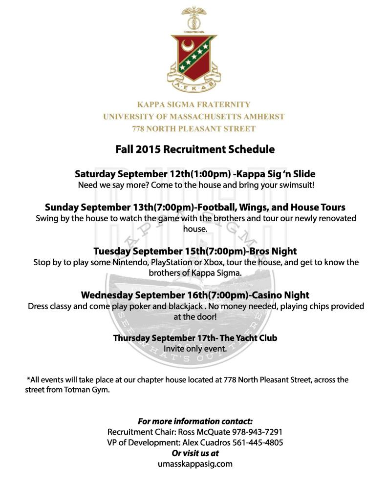 Fall '15 Rush Schedule